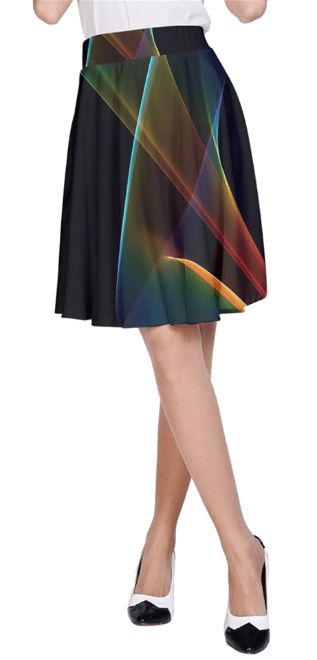 Abstract Rainbow Lily, Colorful Mystical Flower | A-Line Skirt