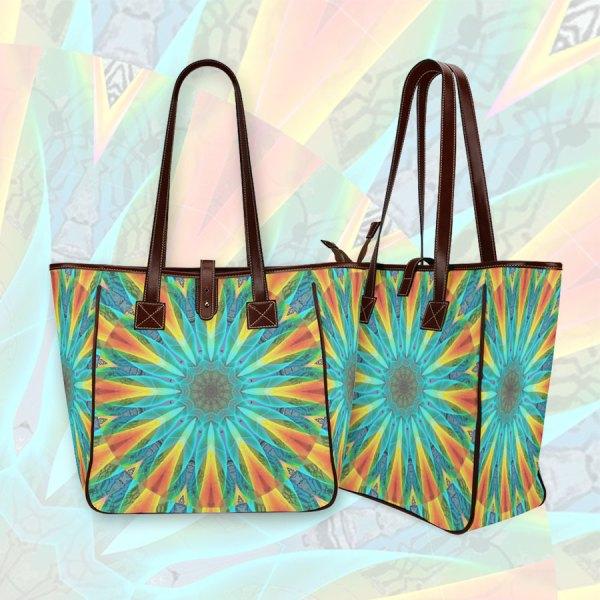 Aqua Gold Joy to the World Flowers, Zen Rainbow | Classic Tote Bag