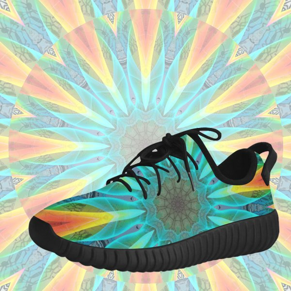 Aqua Gold Joy to the World Flowers, Zen Rainbow | Grus Women's Breatheable Woven Running Shoes (Model 022)