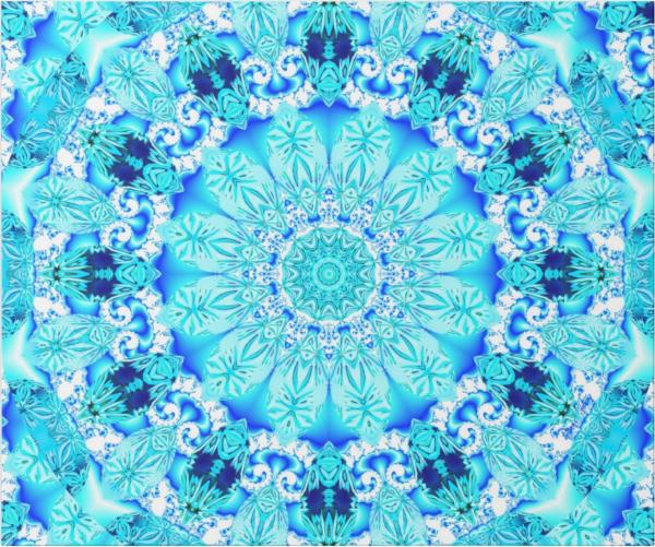 Aqua Lace Mandala, Delicate, Abstract Blue | Wrapping Paper | Flat
