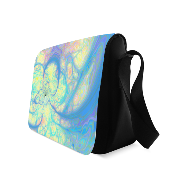 Blue Angel, Abstract Cosmic Azure Lemon | Messenger Bag