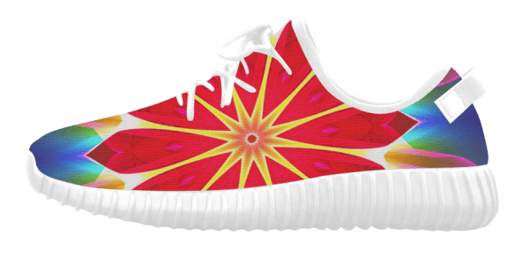 Blue Ice Flowers Red Abstract Modern Petals Zen Grus Women's Breatheable Woven Running Shoes (white) (Model 022)