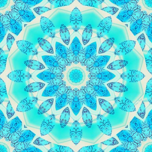 Blue Ice Goddess, Abstract Crystals of Love Mandala | Wrapping Paper | Original