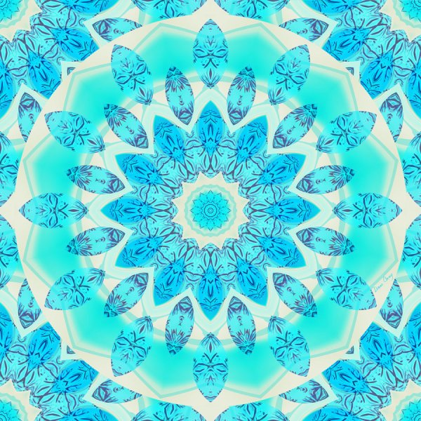 Blue Ice Goddess, Abstract Crystals of Love Mandala | Wrapping Paper | Original