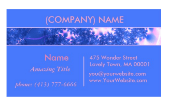 Blue Pink Delicate Cosmic Growth, Osmosis Fractal   Business Cards
