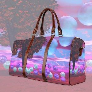 Bubble Garden, Abstract Rose Azure Wisdom Waterproof Travel Bag/Large (Model 1639)