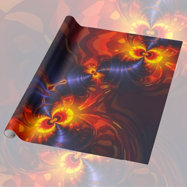 Butterfly Eyes, Abstract Gold Violet Wings Fractal | Wrapping Paper