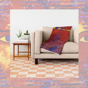 Conundrum III, Abstract Purple Orange Goddess Collage | Throw Blanket