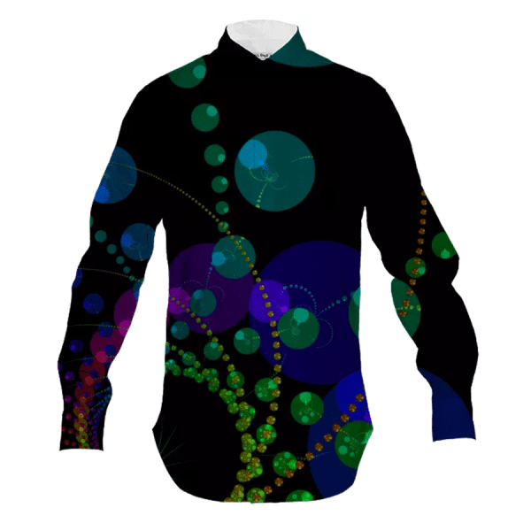 Dance of the Spheres II, Cosmic Abstract Rainbow | Men's Button Down Shirt | DianeClancy @PAOM