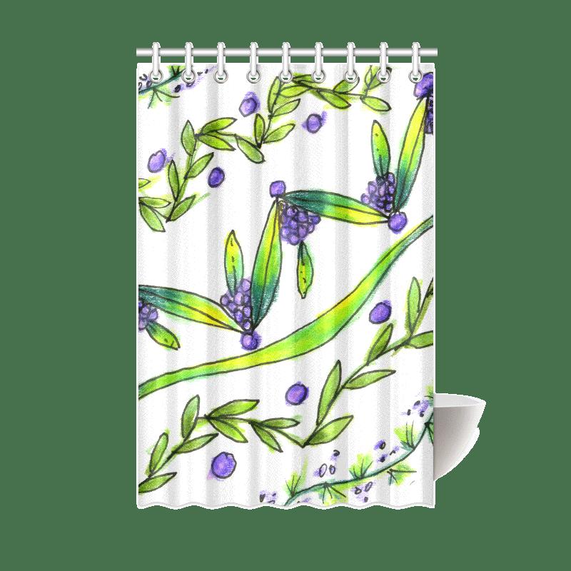 Sold! ❤ Dancing Green, Purple Vines, Grapes Zendoodle Shower | Curtain 48″x72″