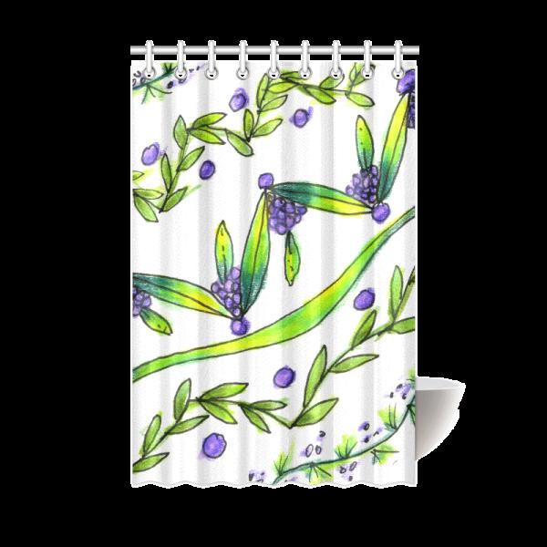 Purple Vines, Grapes, Dancing Green Zendoodle | Shower Curtain 48″x72″ | DianeClancy @ ArtsAdd