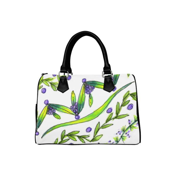 Dancing Green, Purple Vines, Grapes Zendoodle Boston Handbag