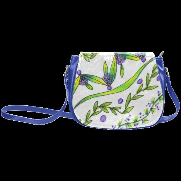 Dancing Green, Purple Vines, Grapes Zendoodle Classic Saddle Bag/Large