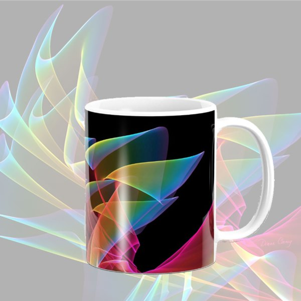 Dancing Northern Lights, Abstract Summer Sky Fractal | Mug