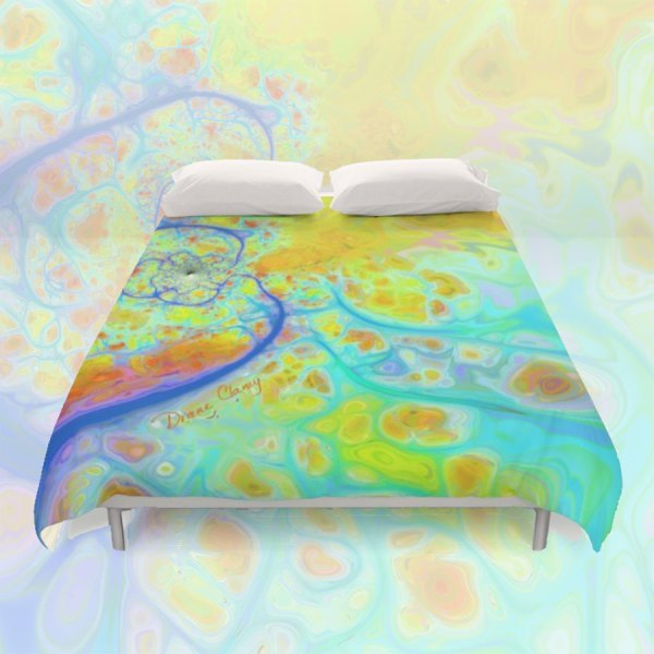 Emerging Galaxies, Abstract Teal and Lime Currents | Duvet Cover