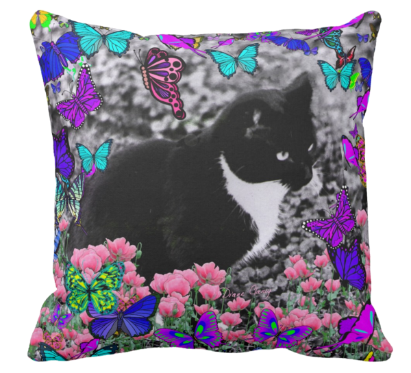 Freckles in Butterflies III, Black and White Tux Cat | Throw Pillows