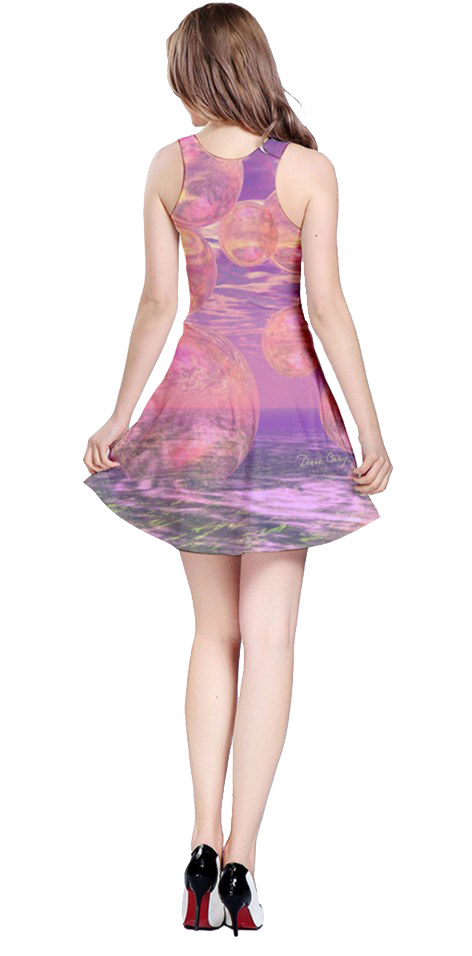 Glorious Skies, Abstract Pink Yellow Dream Reversible Sleeveless Dress