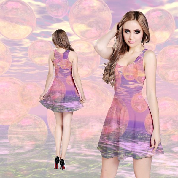 Glorious Skies, Abstract Pink And Yellow Dream Reversible Sleeveless Dress