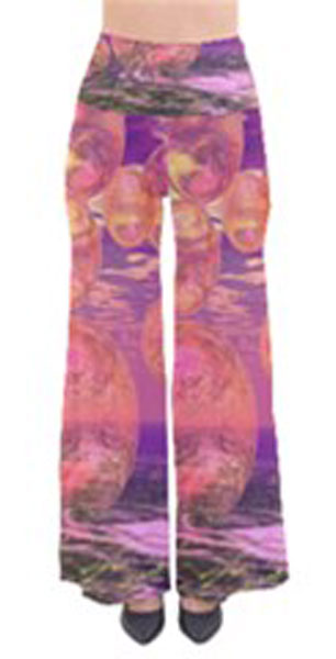 Glorious Skies, Abstract Pink Yellow Dream Women's Chic Palazzo Pants
