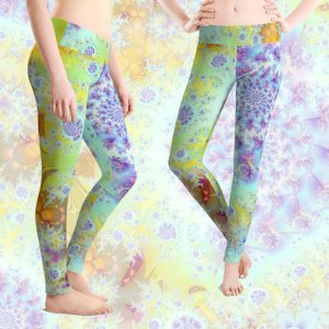 Golden Violet Sea Shells, Abstract Fractal Ocean | Leggings