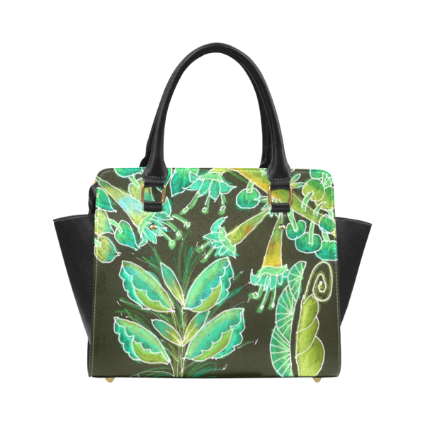 Irish Garden, Lime Green Flowers Dance in Joy Boston Handbag