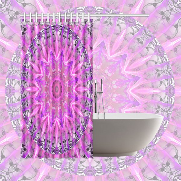"Lavender Lace Abstract Pink Light Love Lattice | Shower Curtain 66""x72"""