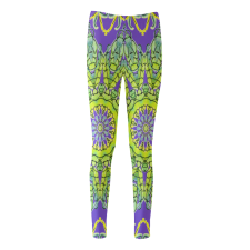 Sold! ❤ Lime Green Yellow Leaves Star Matrix Mandala Purple Cassandra Women's Leggings (Model L01)