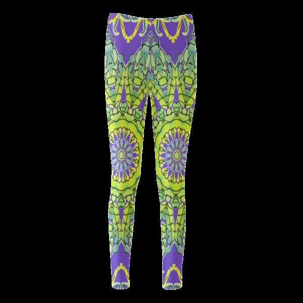 Star Matrix Mandala Lime Green Yellow Leaves Purple | Cassandra Women's Leggings | DianeClancy @ ArtsAdd