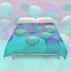 Ocean Dreams, Aqua and Indigo Seascape Universe | Duvet Cover
