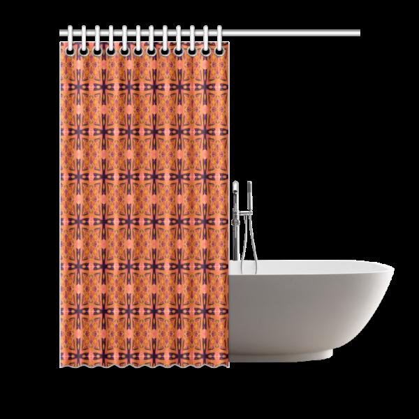 "Peach Purple Abstract Moroccan Lattice Quilt | Shower Curtain 66""x72"""
