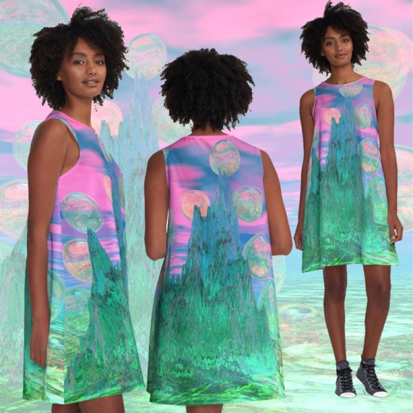 Poetic Mountain at Dawn, Glorious Pink Green Sky A-Line Dress