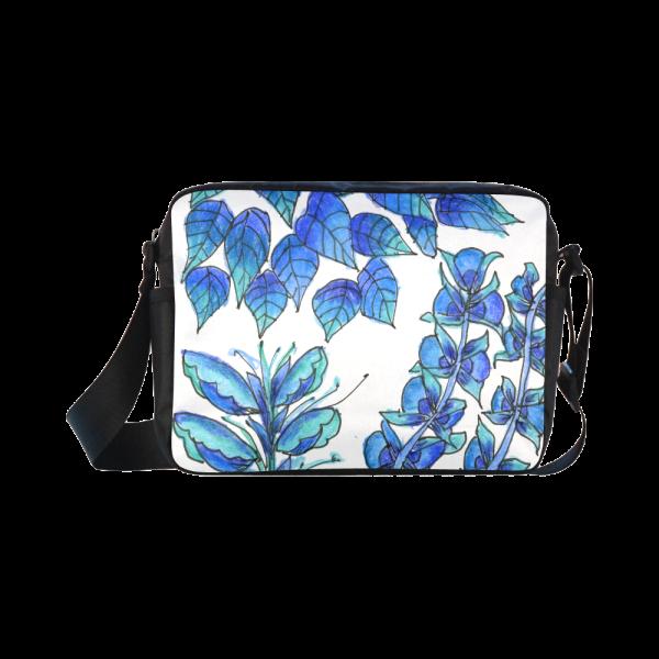 Pretty Blue Flowers, Aqua Garden Zendoodle Classic Cross-body Nylon Bags