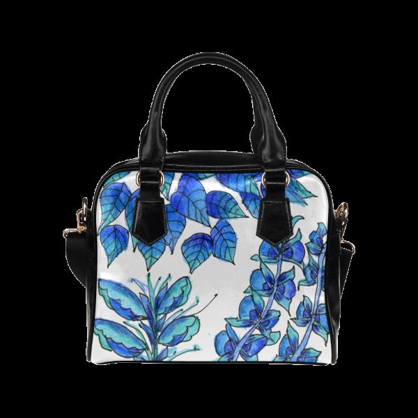Pretty Blue Flowers, Aqua Garden Zendoodle Shoulder Handbag