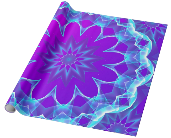 Psychedelic Stars, Abstract Violet Purple Glow | Wrapping Paper | Unrolled