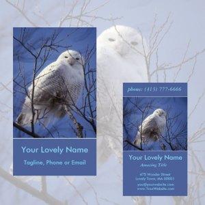 Snowy White Owl, Arctic Owl, Sapphire Sky | Business Cards