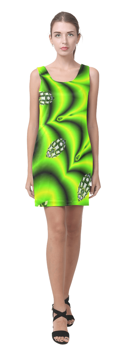 Spring Lime Green Garden Mandala, Abstract Spirals Sleeveless Dress
