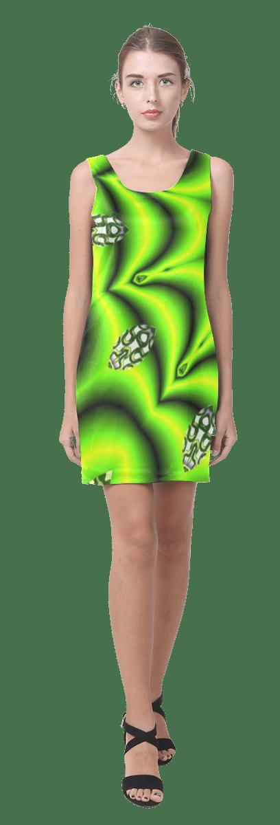 Spring Lime Green Garden Mandala, Abstract Spirals Sleeveless Dress