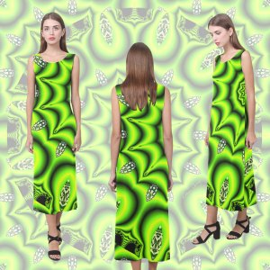 Spring Lime Green Garden Mandala, Abstract Spirals | Sleeveless Open Fork Long Dress
