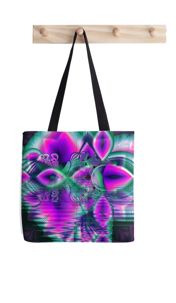 Teal Violet Crystal Palace, Abstract Fractal Cosmic Heart Tote Ba