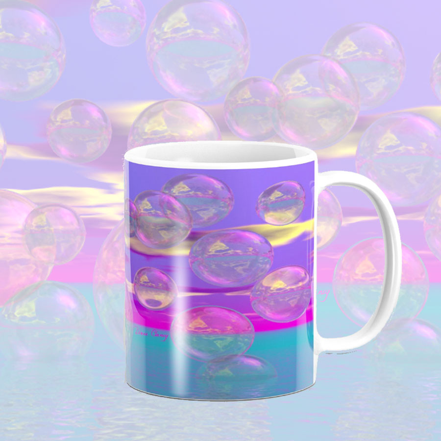 Tropical Morning, Abstract Magenta and Turquoise Paradise | Mug