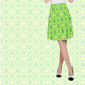 Vibrant Abstract Tropical Lime Foliage Lattice Pattern | A-Line Skirt