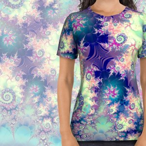 Violet Teal Sea Shells, Abstract Underwater Forest | All Over Print Shirt