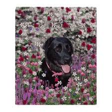 Sold! ❤ Abby the Black Labrador in Flowers I Fleece Throw Blanket 50″x60″