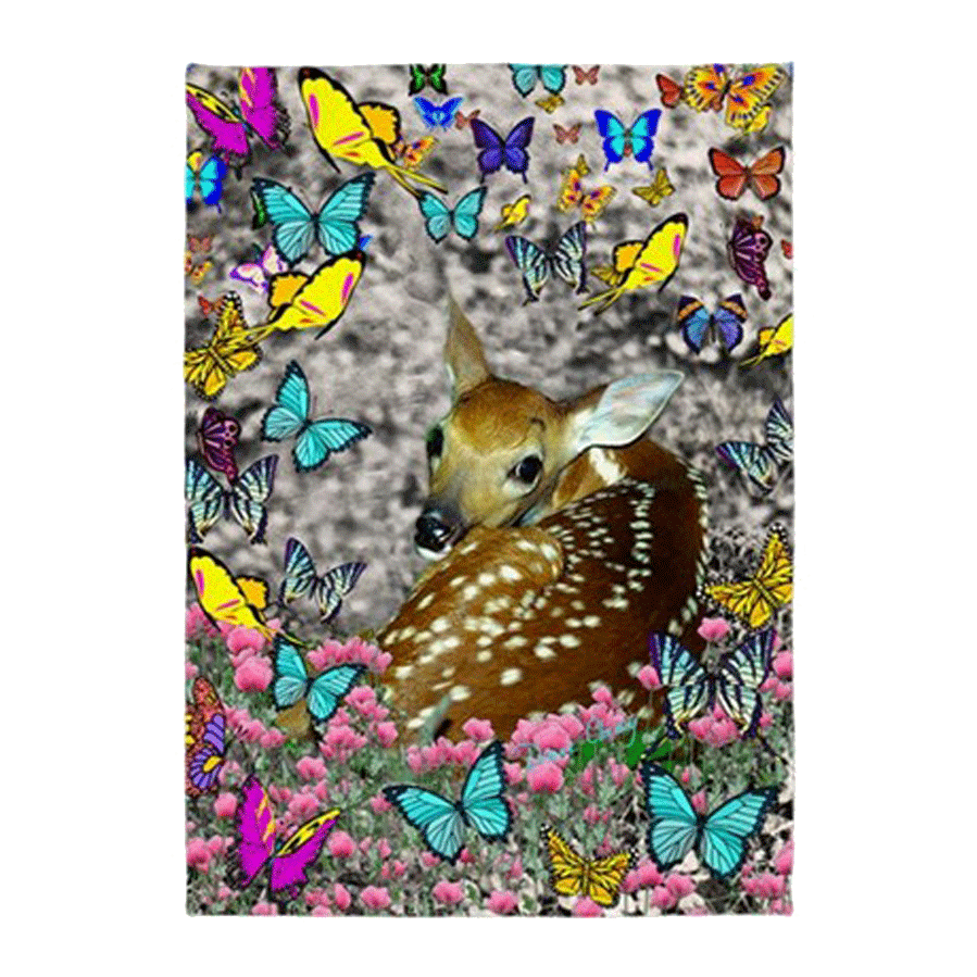 Sold! ❤ Bambina, the White-Tailed Fawn in Butterflies | 5'x7'Area Rug