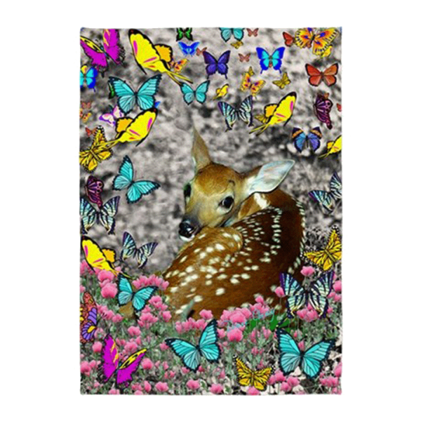 Bambina, the White-Tailed Fawn in Butterflies | 5'x7'Area Rug | DianeClancy | @ CafePress