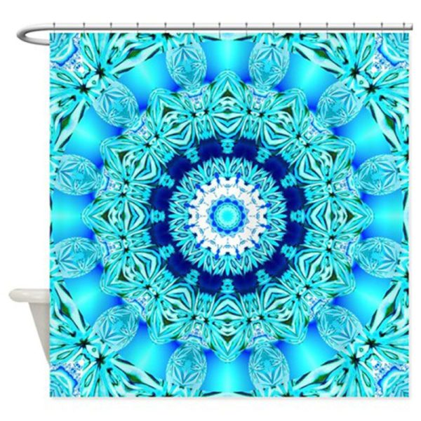 Blue Ice Abstract Aqua Lace Mandala | 69″x70″ Shower Curtain | DianeClancy @ CafePress