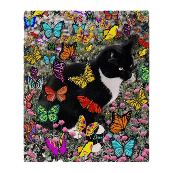 Freckles, Black and White Tuxedo Cat, in Butterflies I Fleece Throw Blanket 50″x60″ | DianeClancy | @ CafePress