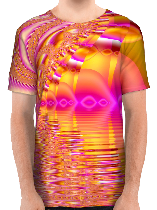 Golden Pink Fiesta, Abstract Fractal Ocean Ripples All Over Print Shirt