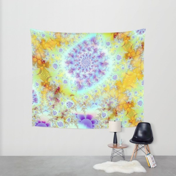 Golden Violet Sea Shells, Abstract Fractal Ocean | Wall Hanging