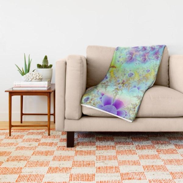 Golden Violet Sea Shells, Abstract Fractal Ocean | Throw Blanket